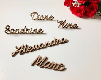 Wood table - mark up - wedding, birthday, christening - laser cut - decoration name - last name wood - wood letter