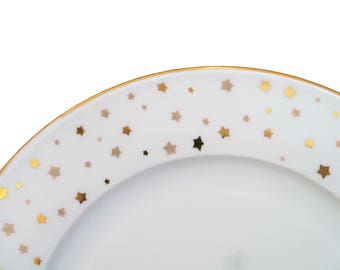 """Constellation"" Limoges painted porcelain plate handmade mother's day stars"