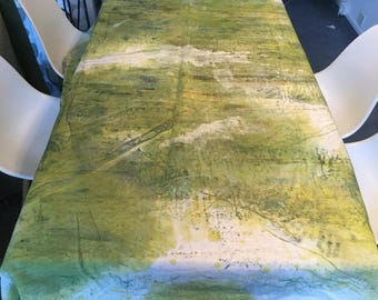 Tablecloth green patina hand painted canvas