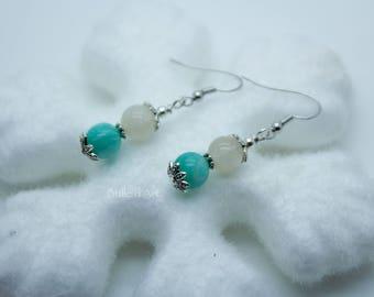 Moonstones and Amazonite earrings