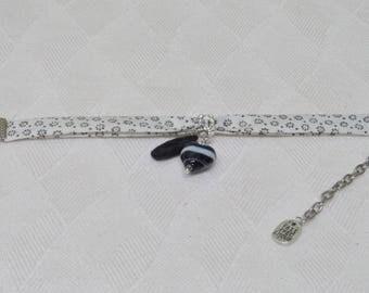 Bracelet liberty floral lampwork glass heart