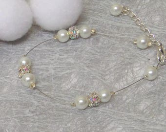 Wedding bracelet ivory and stass pearls
