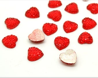 10 red heart cabochons
