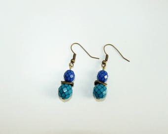 Faceted earrings (turquoise blue and dark blue)