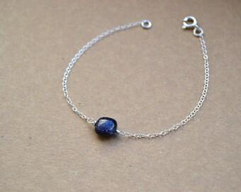 Bracelet 925 sterling silver and shiny black stone