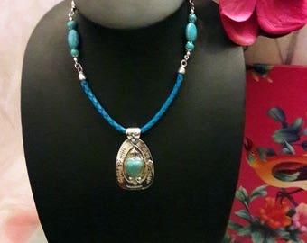 """Necklace """"Joli coeur"""" metal/leather/beads color turquoise"""