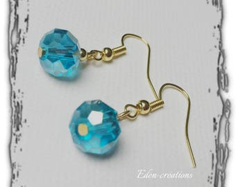 Gold Stud Earrings, glass Pearl, turquoise, elegant