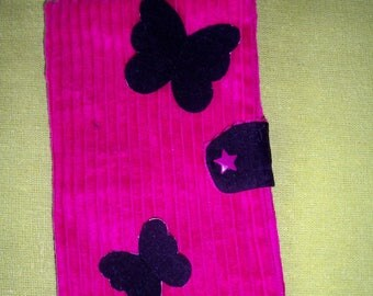 Fuchsia and black butterflies pattern black corduroy checkbook