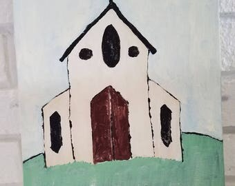 Church painting on canvas board 9x12