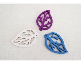 set of 3 leaves pendant wood furnished