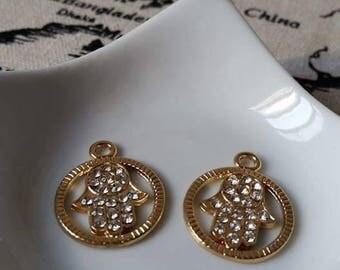 Gold Hamsa charm pendant