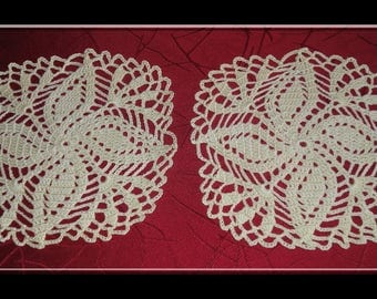 TWO DOILIES COLOR YELLOW - HANDMADE - NEW