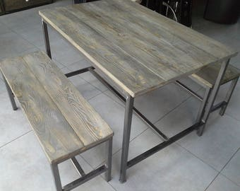 industrial furniture Hall table has eat + bench