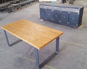 Dining room table foot steel full Gold Solid pine top