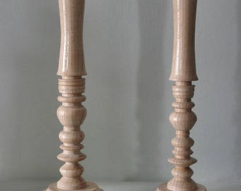 Handcrafted wood candlestick.