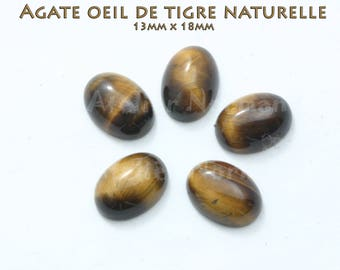 """Set of 5 cabochon Agate oval """"Eye of Tiger"""" 13mm x 18mm"""