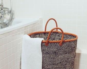 KANZU sisal/leather laundry basket