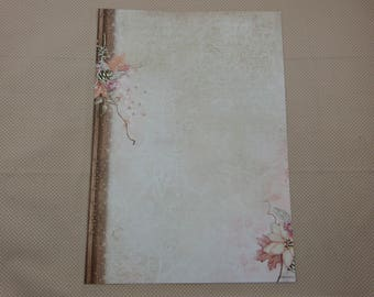 A4 sheet of paper for scrapbooking and card making, Christmas shabby