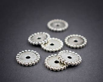 6 pcs - fine ethnic spacer rondelle silver-plated 11mm