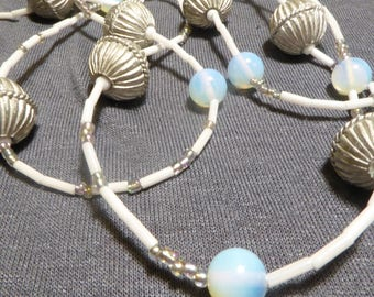 Necklace metal silver way, white, blue opaline, unique piece, light and enchanting