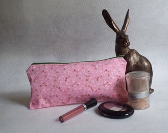 Handmade zipper pouch. Make up bag. Travel bag. Storage bag. Gift for her.