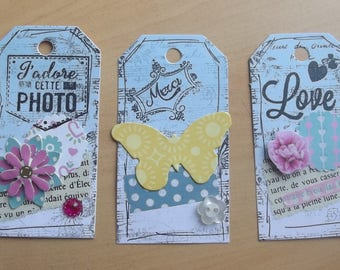 3 blue tags for your scrapbooking creations.