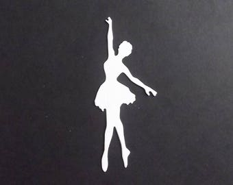 "Set of 10 white cuts ""Dancer"" for your scrapbooking creations."