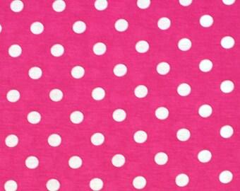 Hot Pink White Dot Cotton Jersey Blend Knit Fabric **UK Seller**