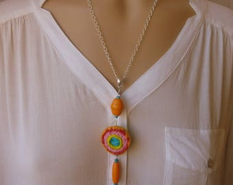 long multicolor polymer clay and wood pendant necklace