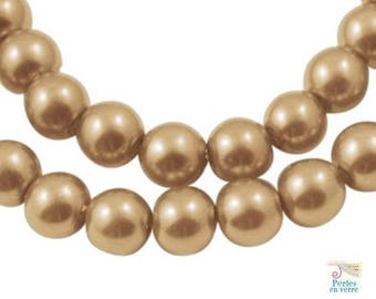 glass Pearl, gold/champagne 8mm (pv436) 40 beads