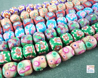 10 multicolored square beads with Rhinestones, polymer (pp10)
