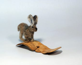 Felted Hare sculpture of wool, needle felting