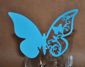 Wedding Decor - bobs to put on a glass Butterfly - wedding, communion, baptism, customizable