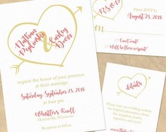 I Heart You Wedding Invitation Set