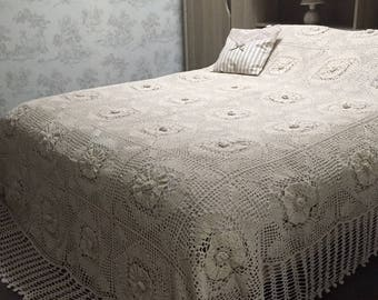 Bedspread boutis 240 x 280 crochet natural linen Shabby Chic colors