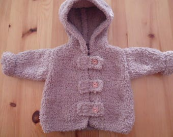 6 months hand knitted baby coat