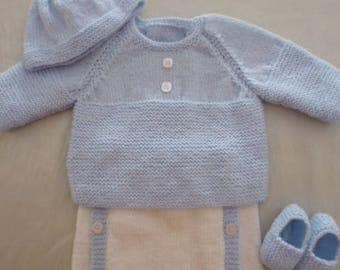 Hand knitted blue and white 3/3 months baby set