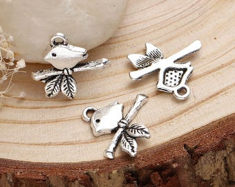 5 charms bird charm on a branch 17 x 16 mm