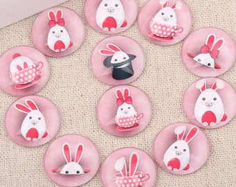 New set of 5 cabochons 25 mm Bunny