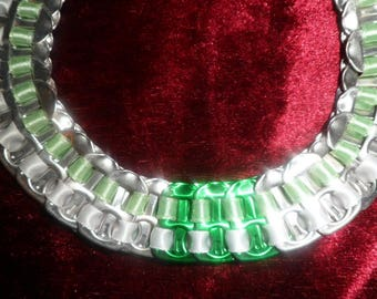 Green and White Ribbon and metal Choker necklace