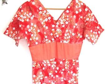 M 50s 60s Cherry Blossom Dress Pink Orange Cotton Asian Sheath Long Gown Hawaii Tiki Island Summer by Pikake VLV Medium