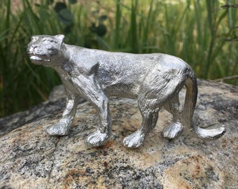 Mountain Lion pewter figurine, puma, cougar, hand cast