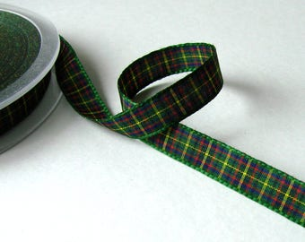 Plaid Ribbon, green border, 10 mm the meter.