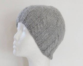 Hand knitted cabled, light grey alpaca wool, unisex Hat