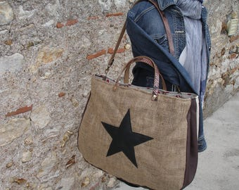 Large - burlap bag - leather - unbleached canvas
