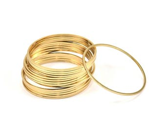 Set of 10 large round closed rings, 38mm circles, gold metal - 38mm - P2