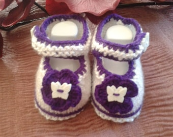 aubergine and white booties size 6 months