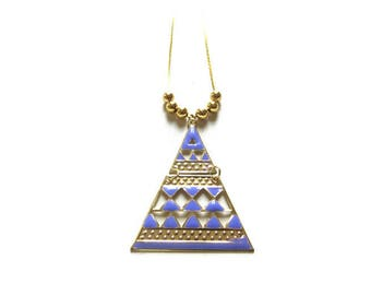 Light purple and gold triangle pendant necklace