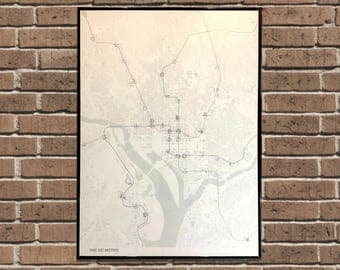 """Beautiful Map of the DC Metro 20"""" x 28"""" Poster"""