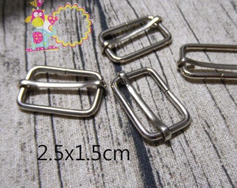 20 x Stirrups passing 2.5x1.5cmx2.8mm silver rectangular shaped